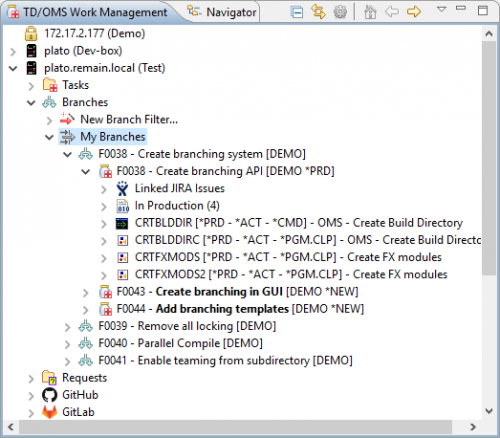 With Branches in TD/OMS, isolate development and testing without interfering with other developers' efforts