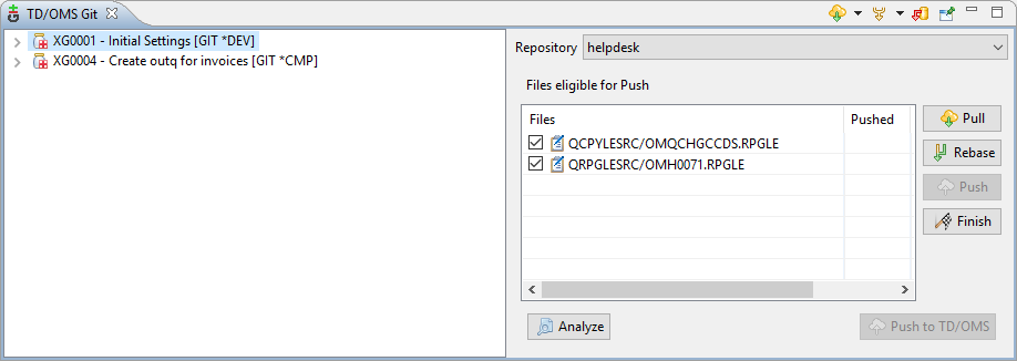 Remain Software releases change-management enhancement Git Analysis and Synchronize View